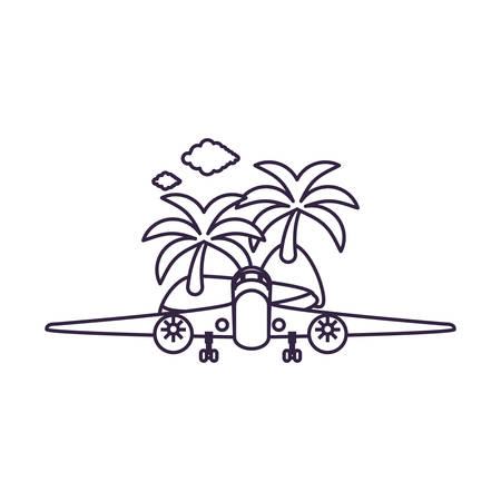 island beach with airplane flying vector illustration design