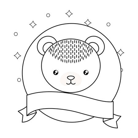 head of cute little bear baby with ribbon vector illustration design Ilustração