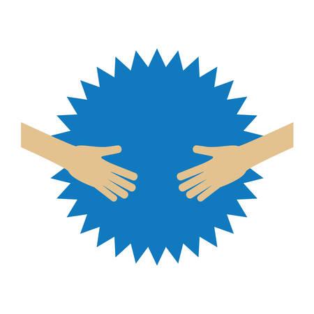 hands human with stamp vector illustration design