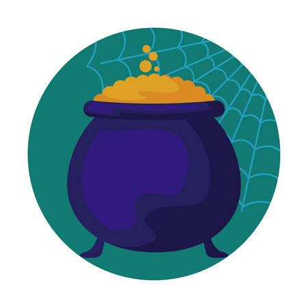 cauldron of halloween icon vector illustration