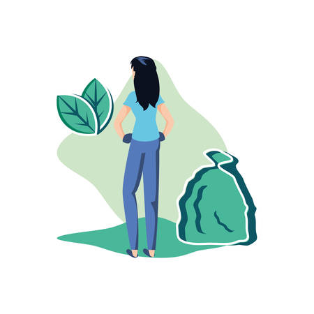 Avatar woman with trash design, Garbage recycle ecology eco save and environment theme Vector illustration 일러스트