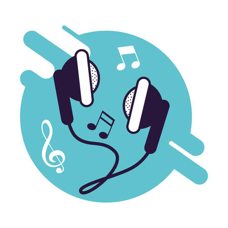 banner with headphone device icon vector illustration design 일러스트