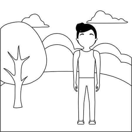 young man attractive in landscape nature vector illustration design Illusztráció