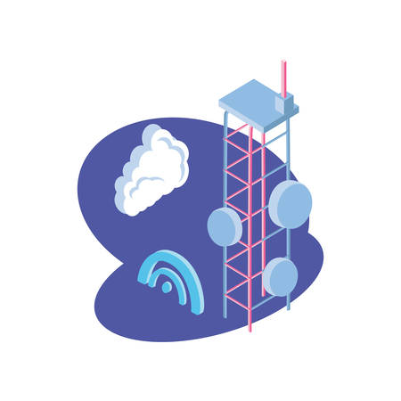 telecommunications tower in blue background vector illustration design 일러스트