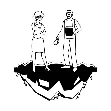 couple of builders constructors workers characters vector illustration design Ilustracja