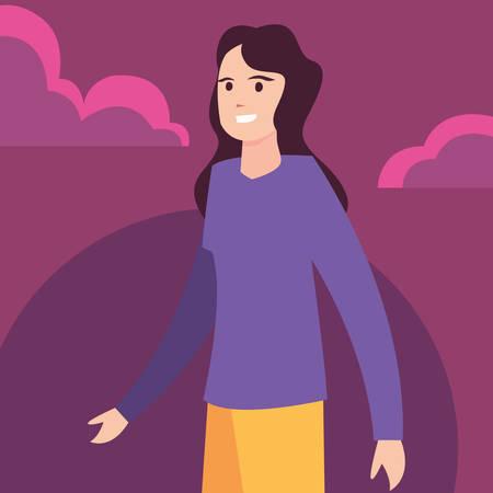 woman happy young people character vector illustration Illusztráció