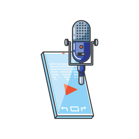smartphone with media player and microphone technology vector illustration