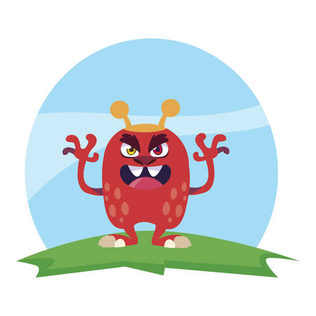 funny monster with antlers in the field vector illustration design