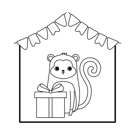 cute monkey animal with gift box and garlands vector illustration design
