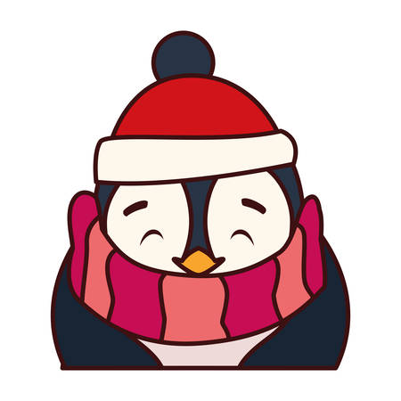 penguin with hat and scarf in white background vector illustration design