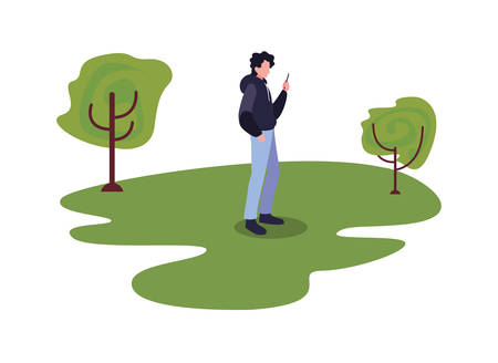 young man using smartphone outdoor trees natural vector illustration 일러스트
