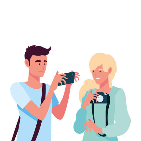 woman and man with camera design, Device gadget technology photography equipment digital and photo theme Vector illustration 일러스트