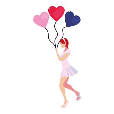 beautiful woman with balloons hearts vector illustration