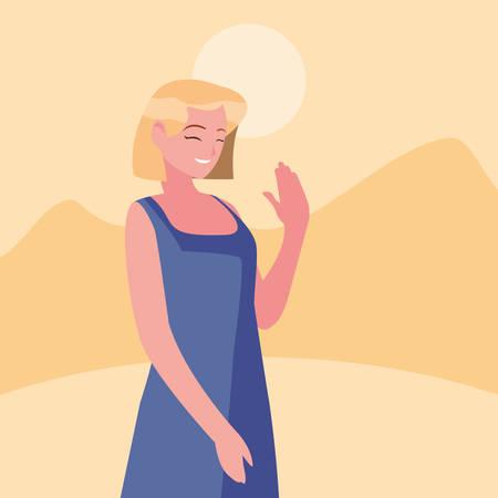 smiling woman character portrait design vector illustration Illusztráció