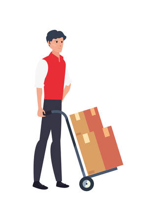 man with handcart boxes fast delivery logistic vector illustration
