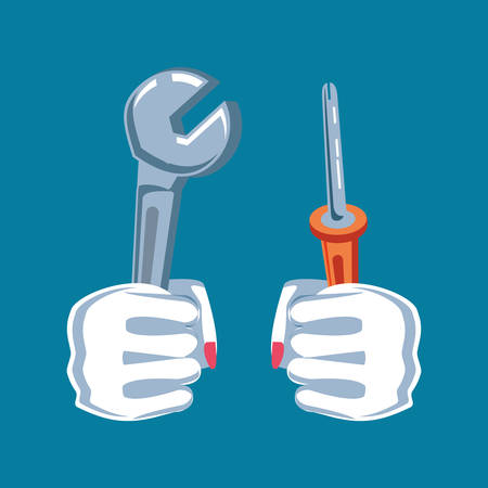 hands fist power with wrench and screwdriver vector illustration design 일러스트