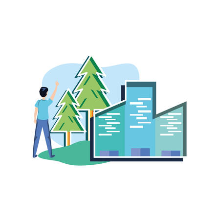 Avatar man design, Sustainability eco friendly green recycle ecology renewable and solution theme Vector illustration 일러스트