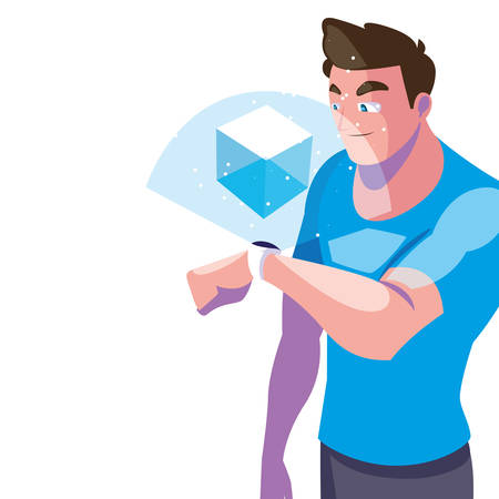 Man with smartwatch design, Augmented reality virtual technology device and modern theme Vector illustration 일러스트