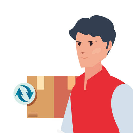 man with package fast delivery logistic vector illustration
