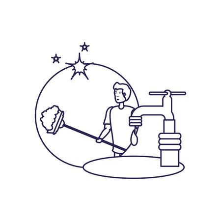 Man cartoon and cleaning design, home work hygiene equipment domestic and housework theme Vector illustration Ilustracja