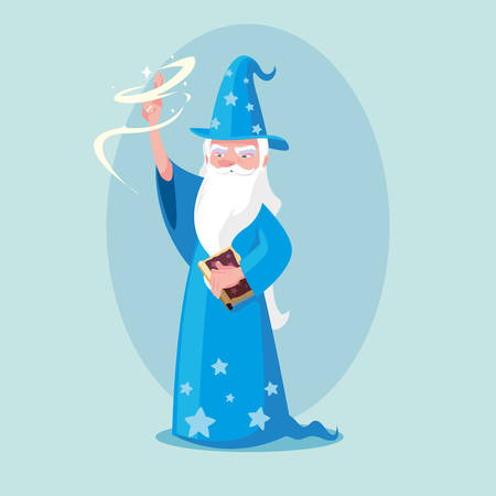 wizard with hat of fairytale avatar character vector illustration design Ilustracja