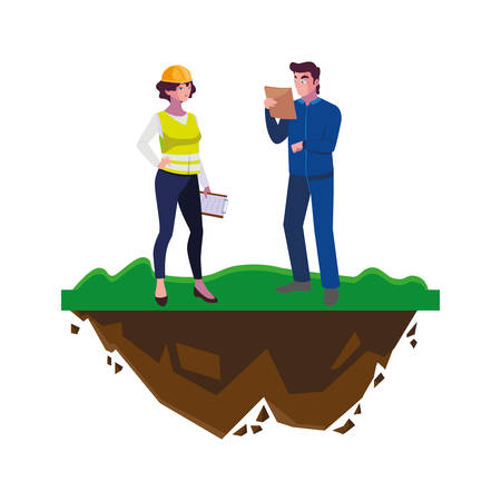 couple of builders constructors workers on the lawn vector illustration design Ilustracja