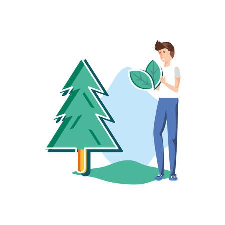 Pine tree and avatar man design, Nature plant summer season environment natural and abstract theme Vector illustration