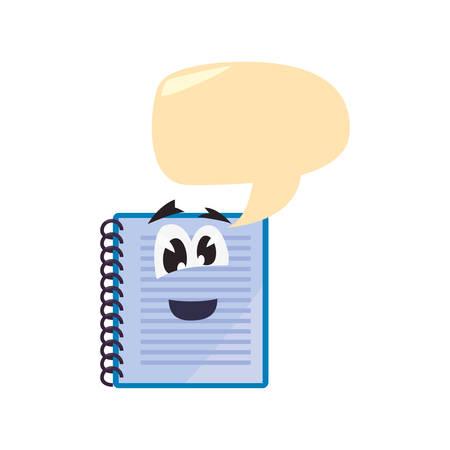 notebook cartoon back to school talk bubble vector illustration