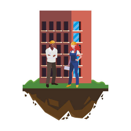 interracial couple of builders workers with building vector illustration design Ilustracja