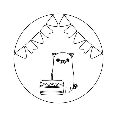 cute piggy with cake birthday and garlands vector illustration design