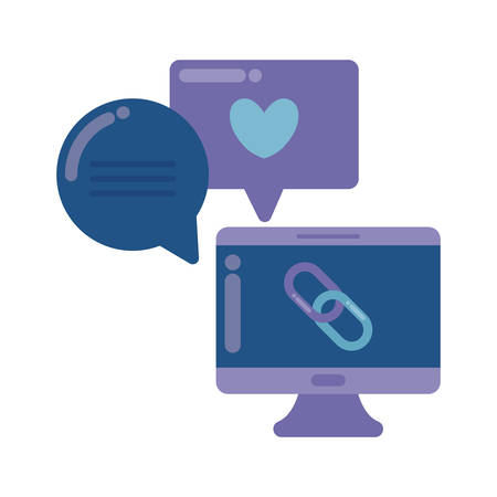 social media marketing with desktop computer vector illustration design 일러스트
