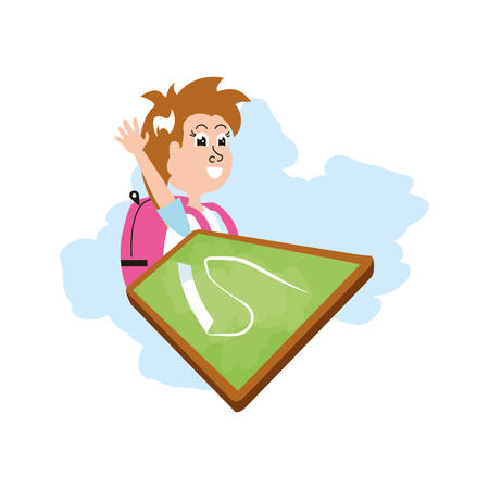 little student girl with bag school and board classroom vector illustration design 일러스트