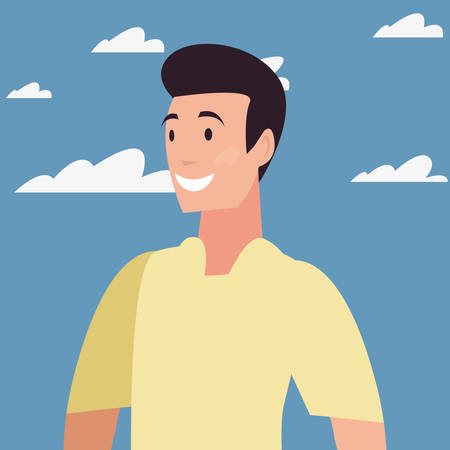 man portrait character outdoor sky clouds vector illustration