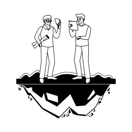 male builder constructor worker with architect boss vector illustration design Illusztráció