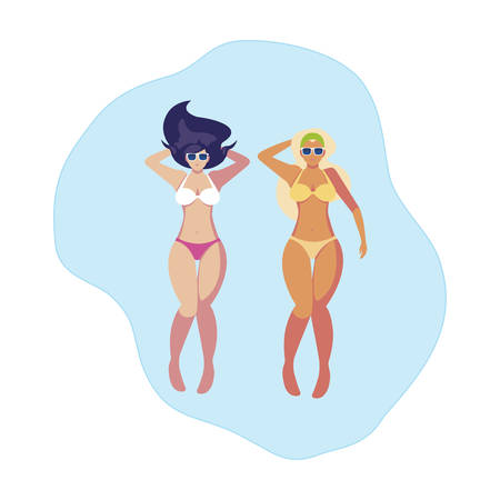 beautiful girls couple with swimsuits floating in water vector illustration design Illusztráció