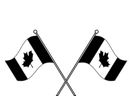 flags of canada patriotic in stick crossed vector illustration design Reklamní fotografie - 134027503