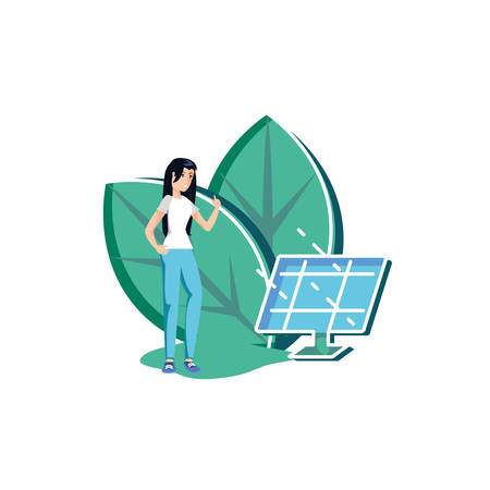 Woman avatar and solar panel design, Sustainability eco friendly green recycle ecology renewable and solution theme Vector illustration