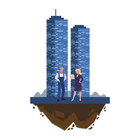 male builder constructor with woman engineer and building vector illustration Illusztráció