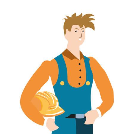 builder constructor worker avatar character vector illustration design