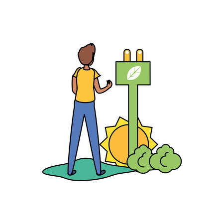 Avatar man design, Sustainability eco friendly green recycle ecology renewable and solution theme Vector illustration Иллюстрация