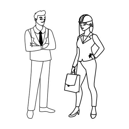 couple of engineers builders workers characters vector illustration design