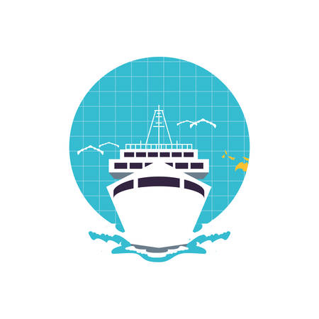 ship cruise boat travel in world planet vector illustration design