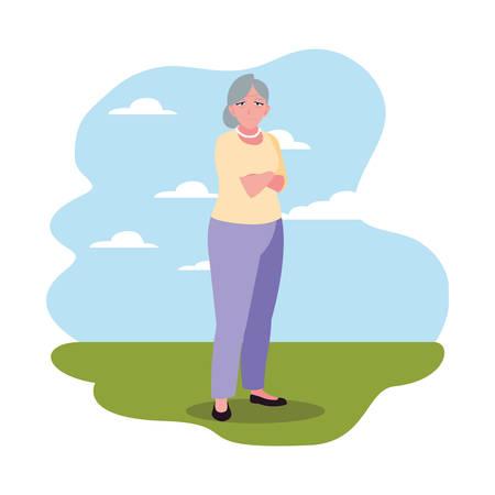 happy grandparents day - grandmother standing outdoor vector illustration