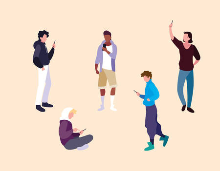 group of young men using smartphones devices vector illustration design Illusztráció