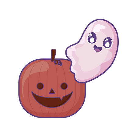 halloween pumpkin with ghost on white background vector illustration design