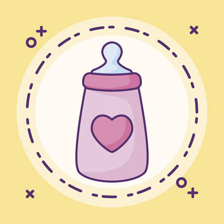 bottle milk baby with heart in frame circular vector illustration design