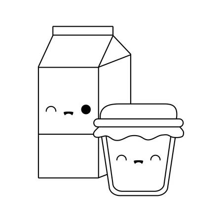 bottle of honey with box milk kawaii style vector illustration design