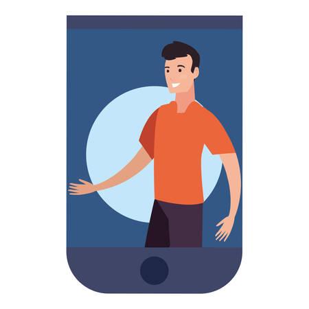 smartphone man happy people avatar vector illustration