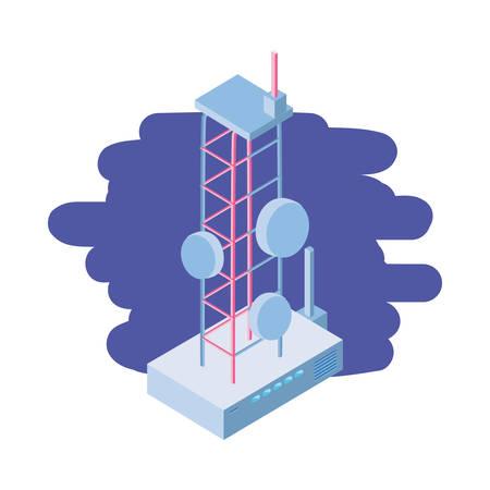 telecommunications tower in blue background vector illustration design Illusztráció