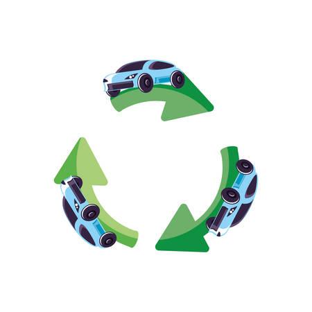 recycling arrows with cars sedan transportation vector illustration design Иллюстрация